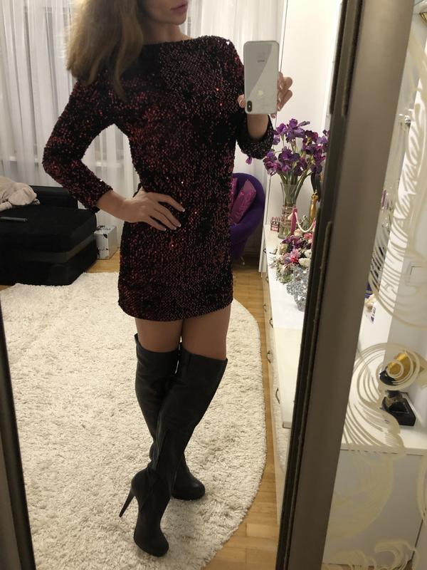 Шикарное новое платье в пайетки размер м - Фото 3