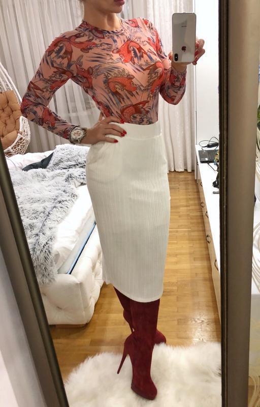 Шикарнейшая белая теплая шерстяная юбка river island m-l