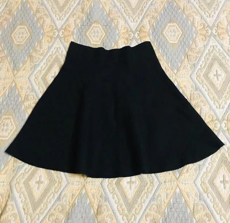 Чёрная тёплая короткая юбка Oodji