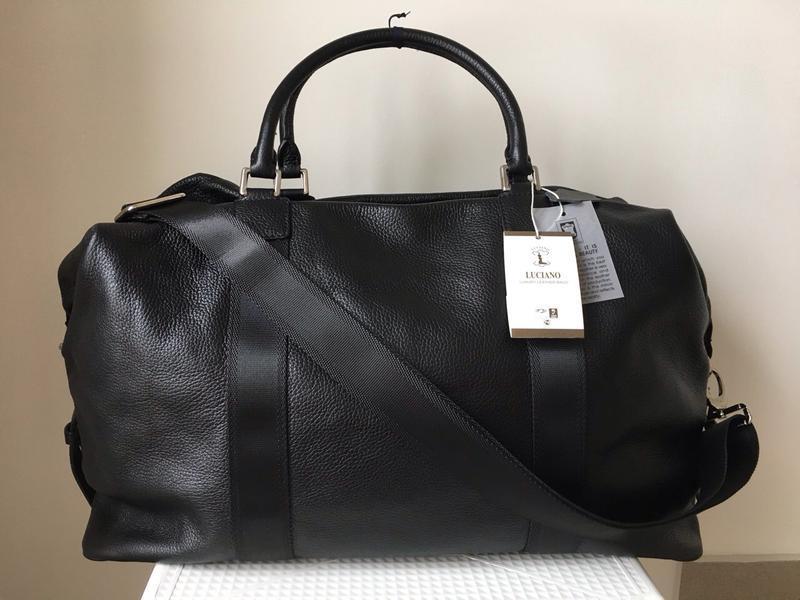 Дорожная сумка унисекс фирмы luciano кожаная 100% новая