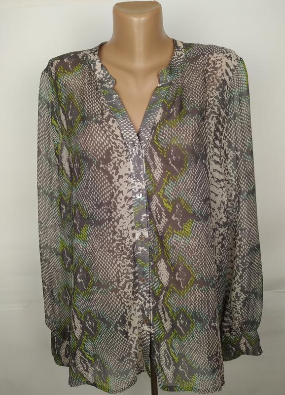 Блуза шелковая красивая легкая питоновой рацветки 100% шелк uk...