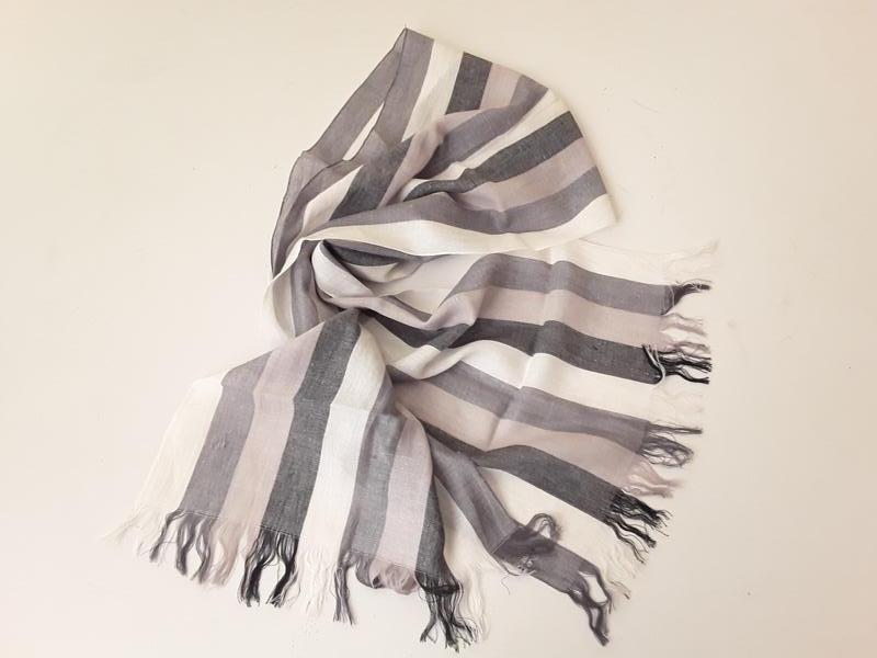 Льняной шарф в полоску унисекс