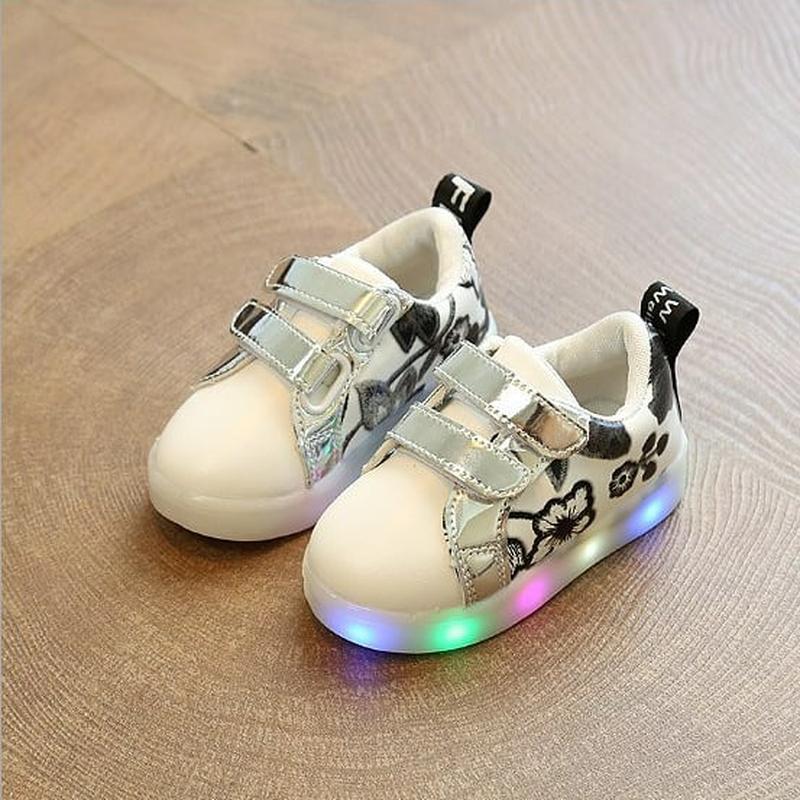 Кеды кроссовки для девочки светятся на липучке led все размеры