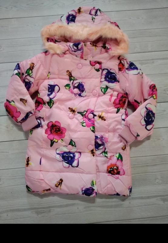 Пальто куртка яркая модная цветы - Фото 3