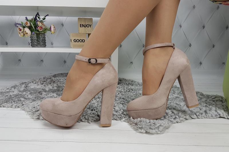 Новые шикарные женские пудровые туфли на высоком каблуке