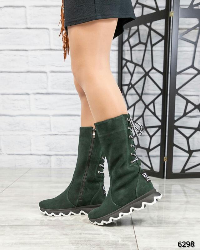 ❤ женские зеленые зимние замшевые высокие сапоги ботильоны на ...