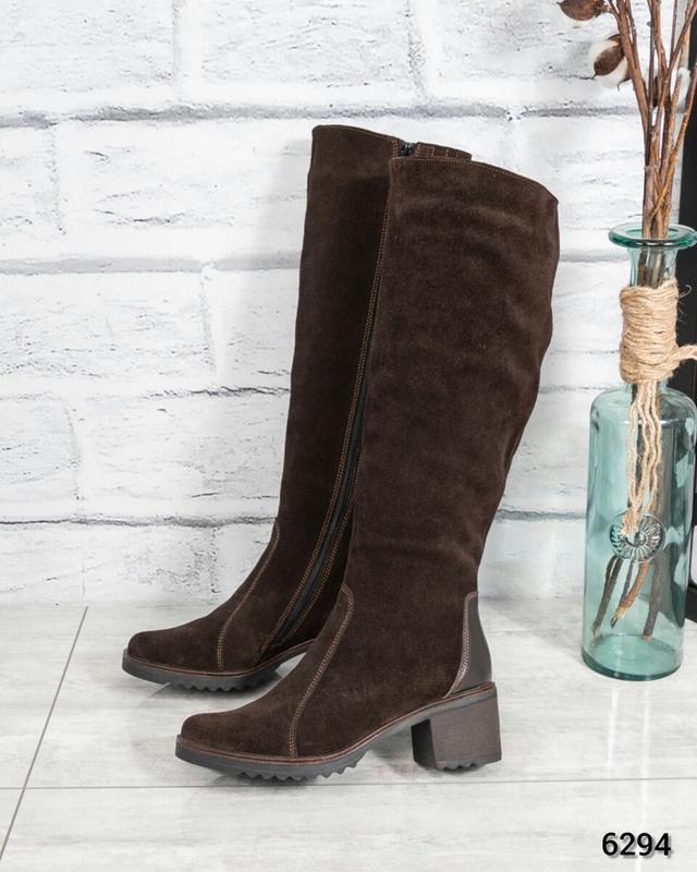 ❤ женские коричневые зимние высокие сапоги ботильоны на шерсти ❤