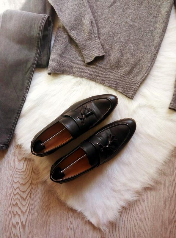 Черные кожаные мужские туфли на каблуке с кисточками висюлькам... - Фото 2