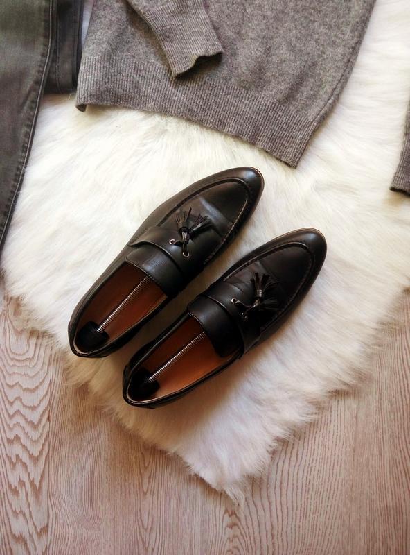 Черные кожаные мужские туфли на каблуке с кисточками висюлькам... - Фото 3