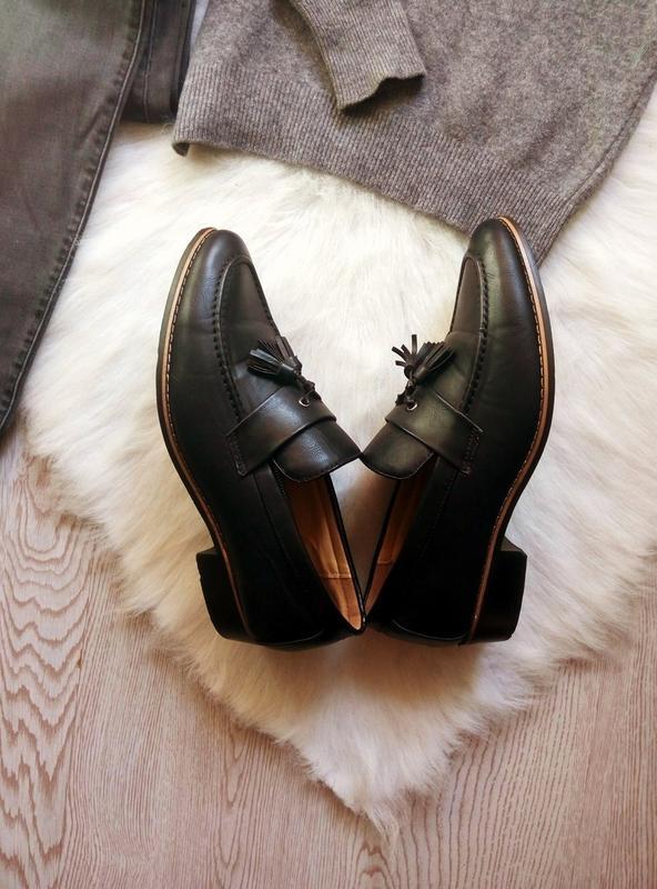 Черные кожаные мужские туфли на каблуке с кисточками висюлькам... - Фото 4