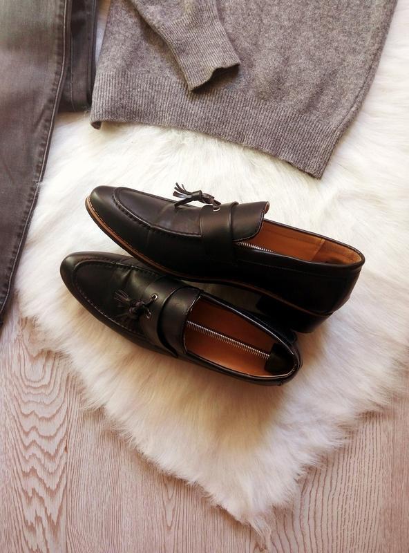Черные кожаные мужские туфли на каблуке с кисточками висюлькам... - Фото 5