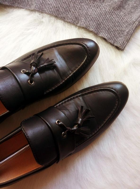 Черные кожаные мужские туфли на каблуке с кисточками висюлькам... - Фото 6