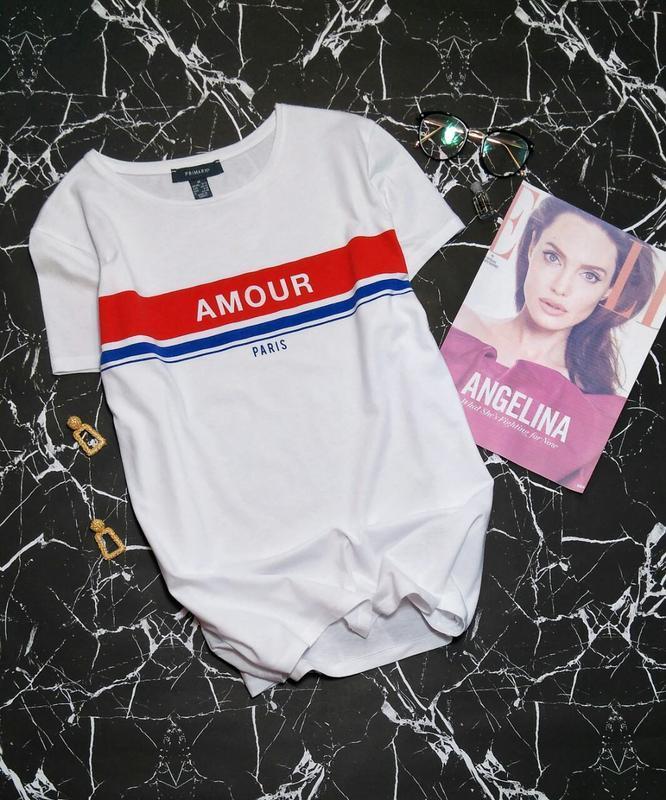 Стильная белая футболка amour paris от primark размер 12-14