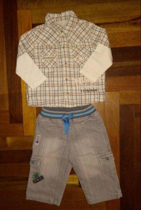 Комплект стильная рубашка джинсы утеплённые 9-12-18 м