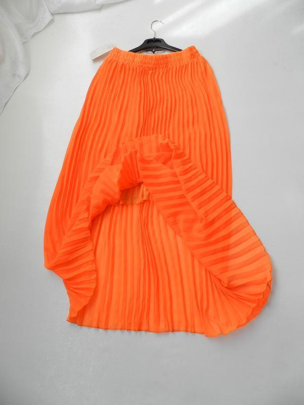 ⛔✅красивая яркая юбка кислотно оранжевая полупрозрачный шифон ...