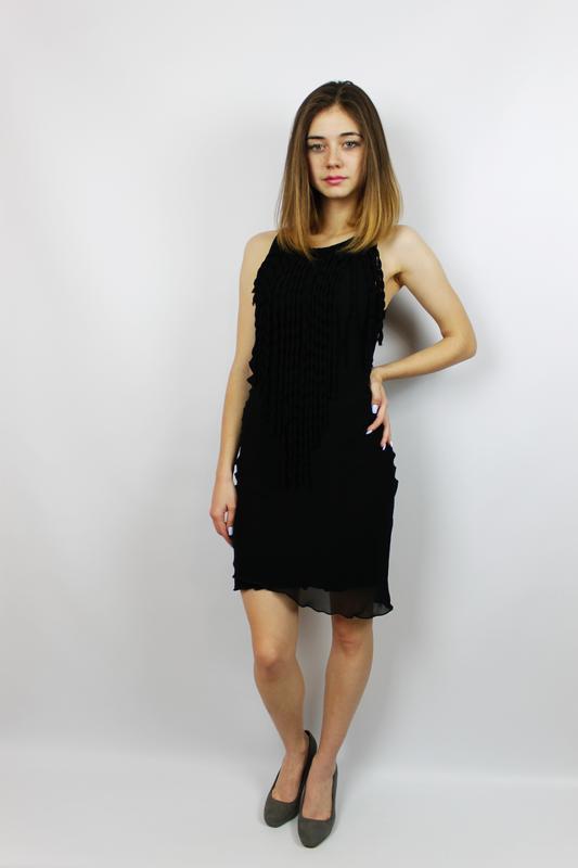 Акция маленькое черное шифоновое мини платье футляр с бахромой