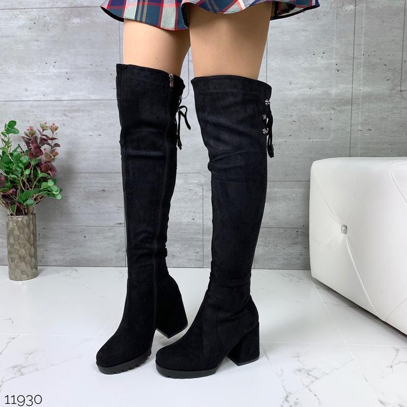 Зимние ботфорты на удобном каблуке