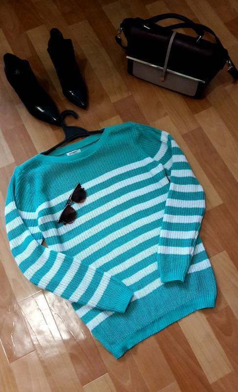 Красивый натуральный полосатый свитер damart