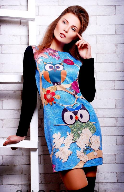 Классное платье с совами и цветами с длинным рукавом