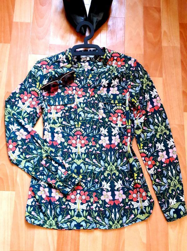 Невероятно красивая натуральная блуза рубашка с цветами от next