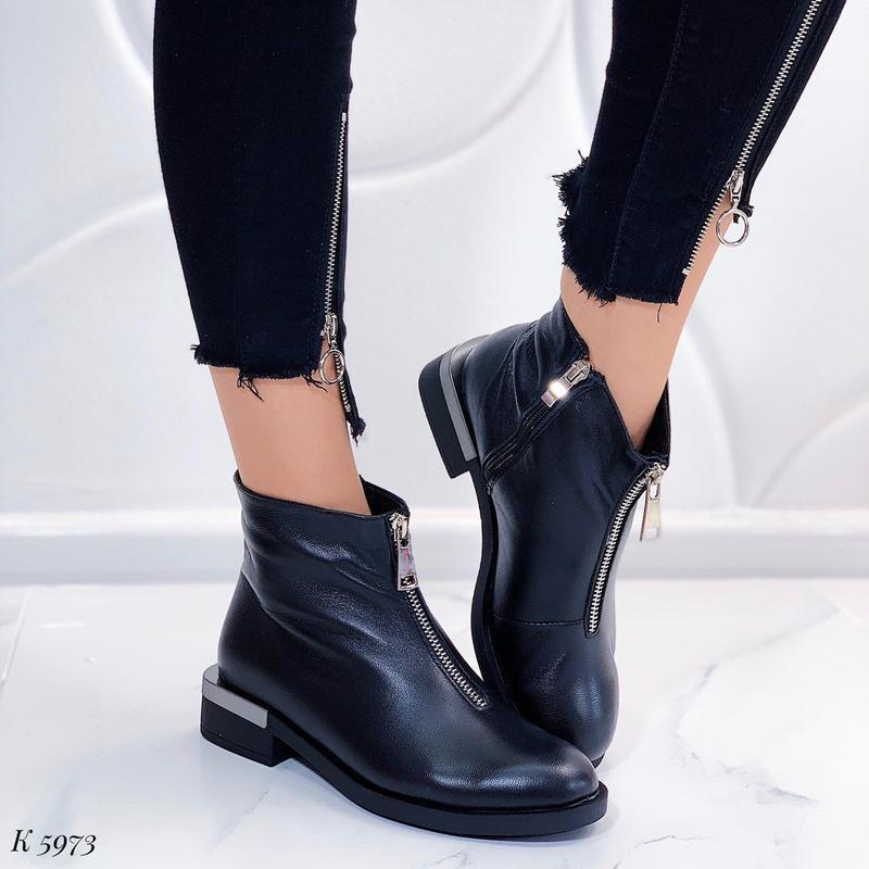 Кожаные ботинки на низком каблуке,демисезонные чёрные ботинки ...