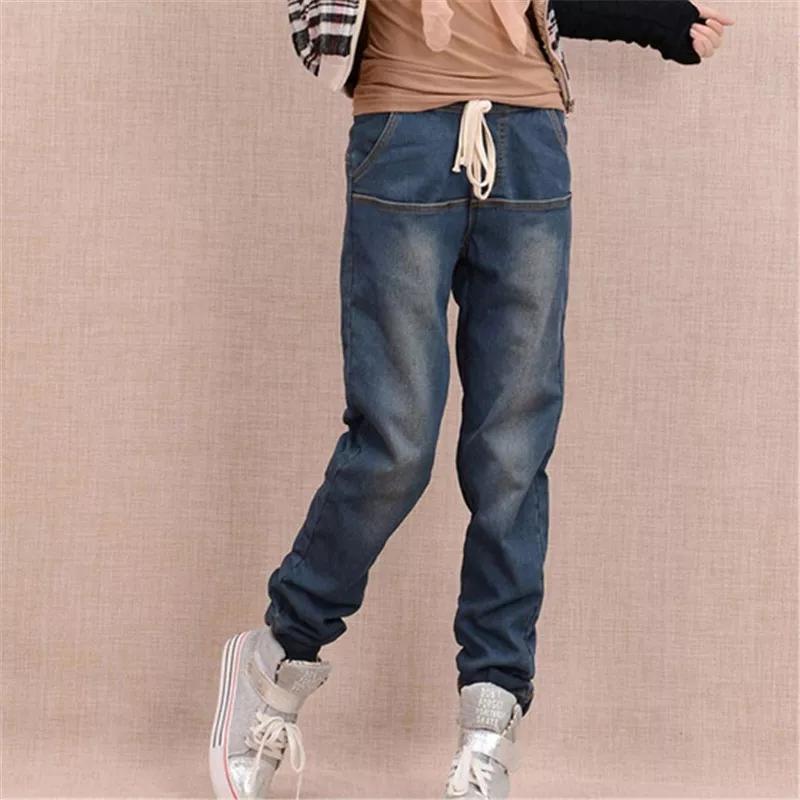 Зимние джинсы джогеры, утеплённые мехом-травкой