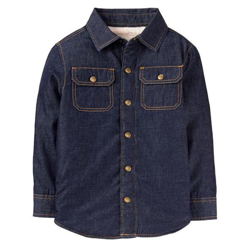 Джинсовая рубашка-ветровка для мальчика 10-12 лет на шерпе crazy8