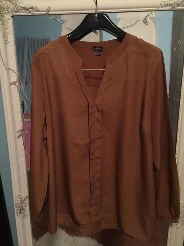 Блуза с длинным рукавом цвета camel. большой размер
