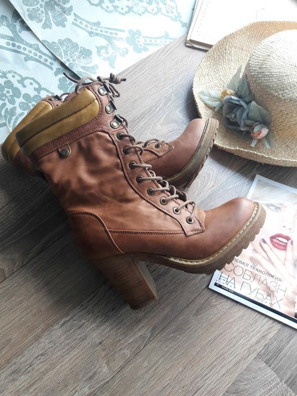 Ботинки ботильйоны высокие сапоги на шнуровке timberland средн...