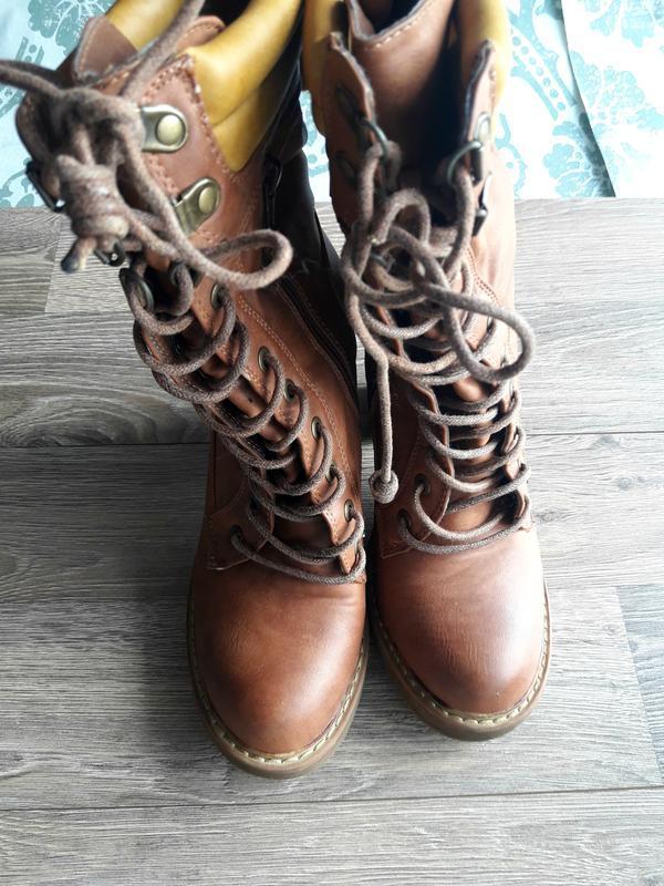 Ботинки ботильйоны высокие сапоги на шнуровке timberland средн... - Фото 2