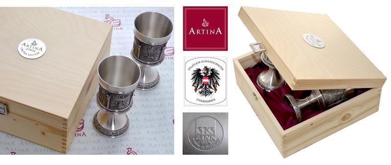 Уникальные оловянные наборы для вина Артина  барельефами Дюрера и