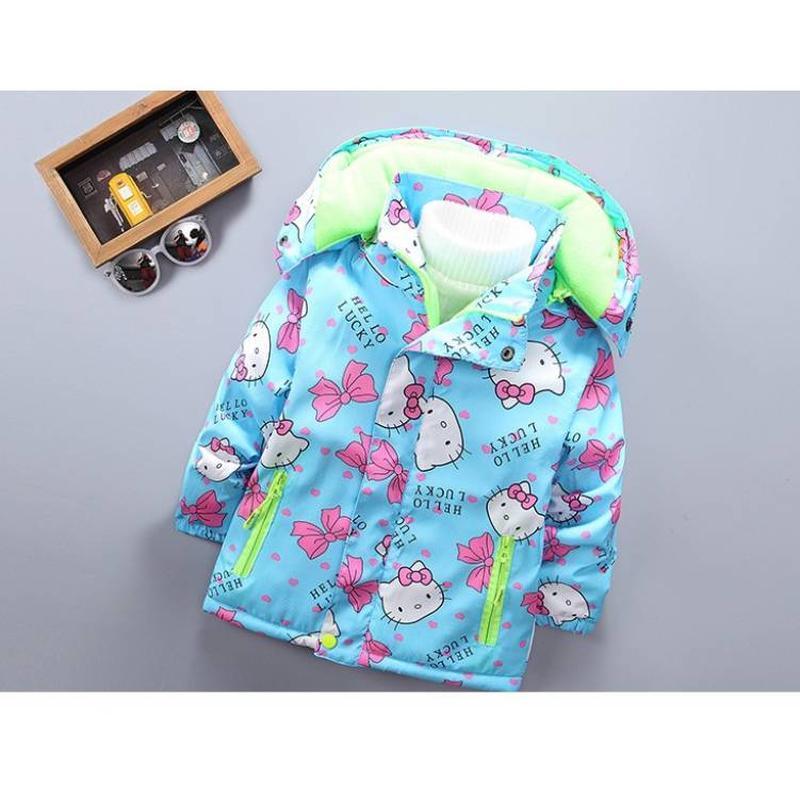 Куртка для девочки еврозима hello lucky голубая на флисе