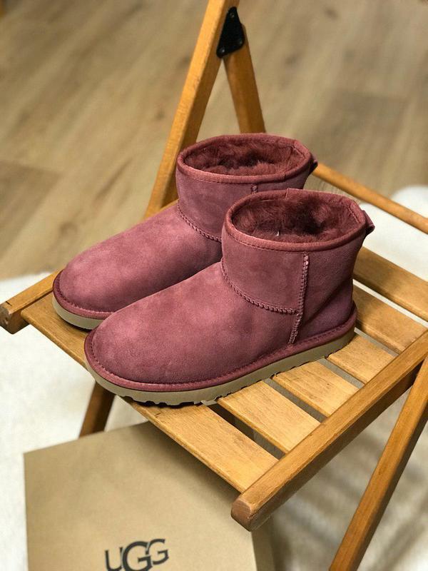 Ugg mini 2 bordo! женские замшевые зимние угги/ сапоги/ ботинк...