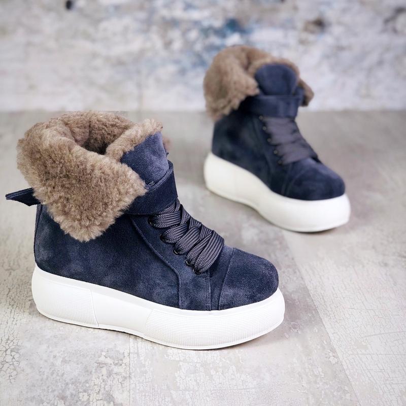 ❤ женские  синие зимние замшевые ботинки сапоги ботильоны на м... - Фото 2