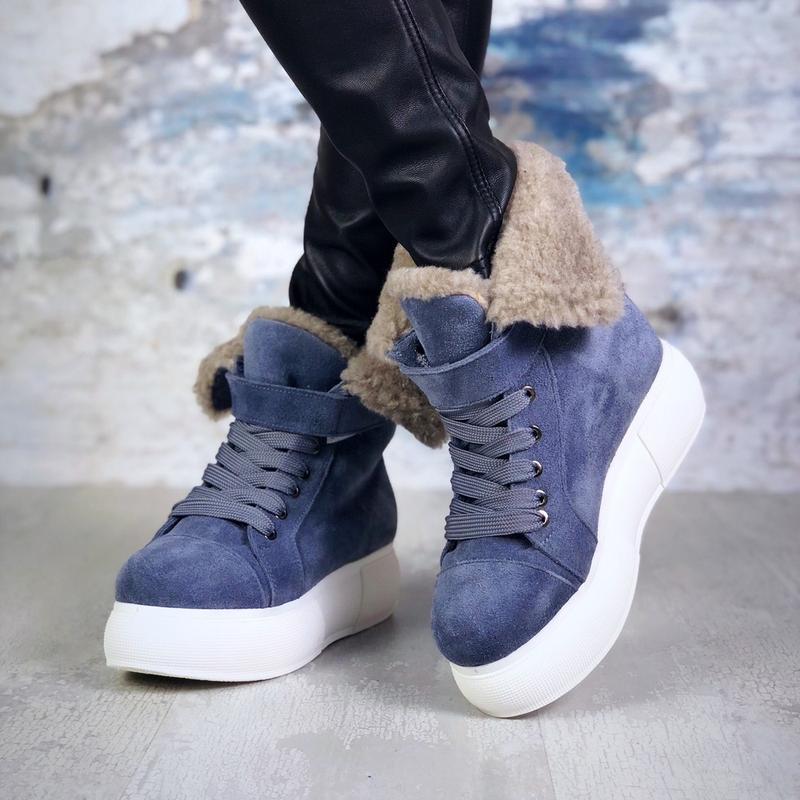 ❤ женские  синие зимние замшевые ботинки сапоги ботильоны на м... - Фото 4