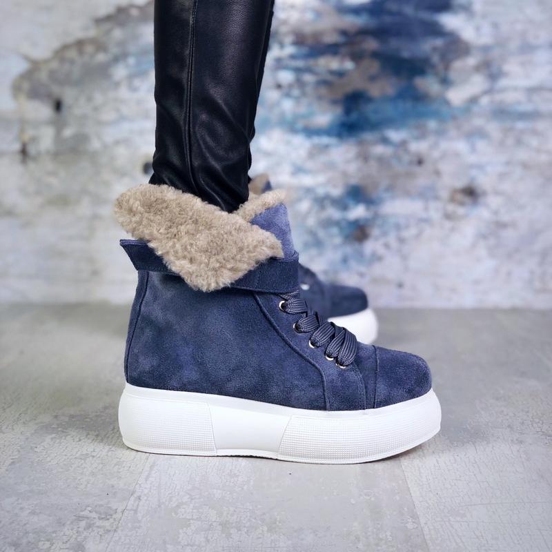 ❤ женские  синие зимние замшевые ботинки сапоги ботильоны на м... - Фото 5