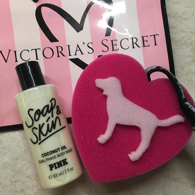 Гель для душа soap&skin victoria's secret pink, мочалка и паке...
