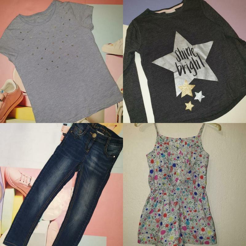 Пакет вещей, для девочки 6 7 лет, джинсы, ромпер, лонгслив, фу...
