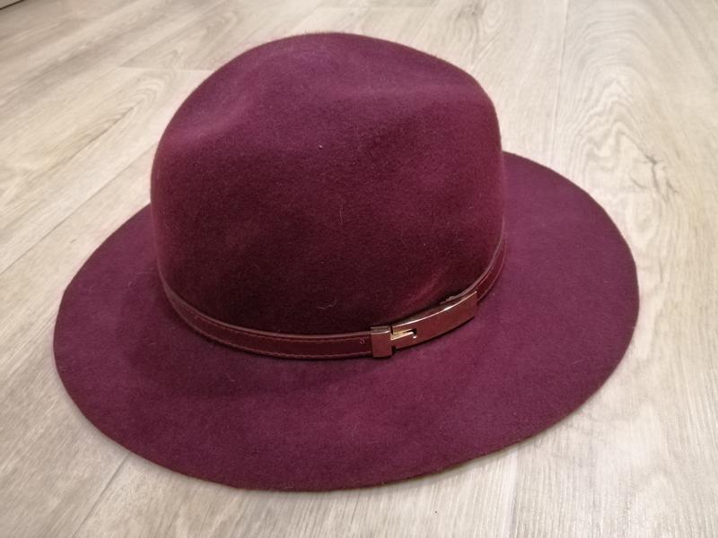 Бордовая шляпа осень /весна шерсть