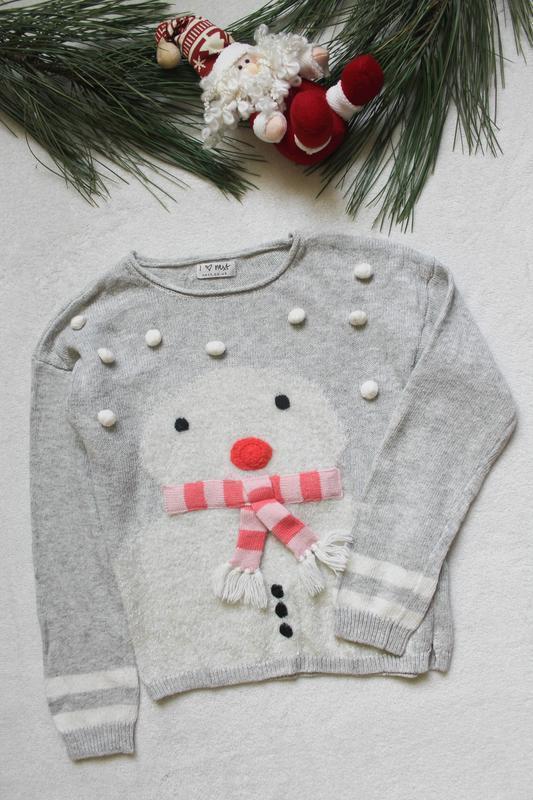 Детский новогодний свитер со снеговиком от next (85), рост 128