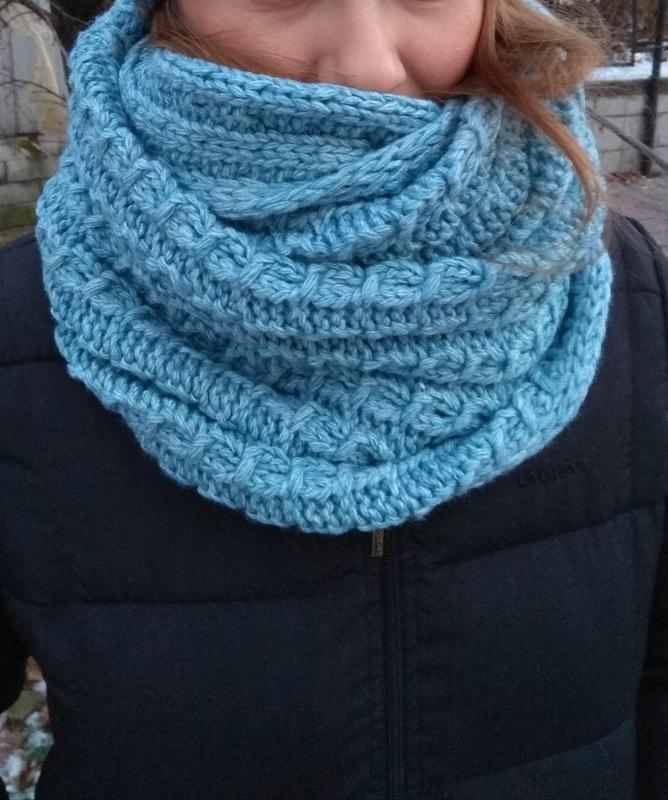 Новый теплый хомут в 2оборота, голубой (можно носить на голове...