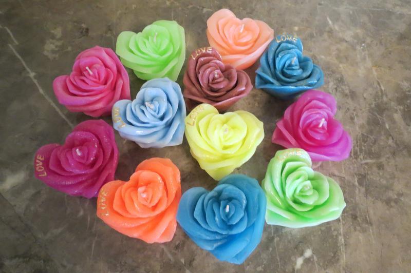 Свеча сердце - роза