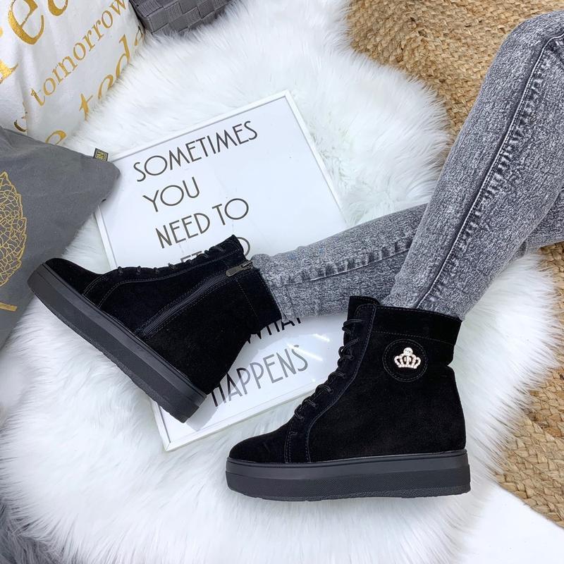 Зимние замшевые ботинки на меху, зимние ботинки на платформе к...