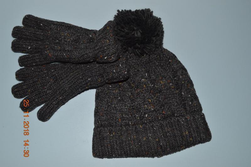 Новий теплий набір (шапка і перчатки) next розм. 7-10 р. в ная...