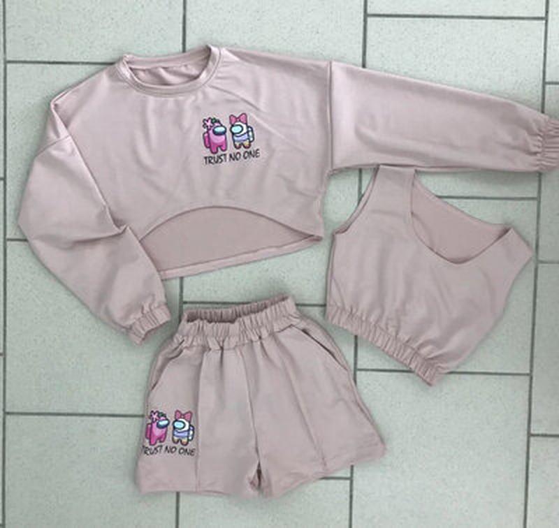 Комплект-тройка амонг ас для девочки свитшот,шорты и топ турция