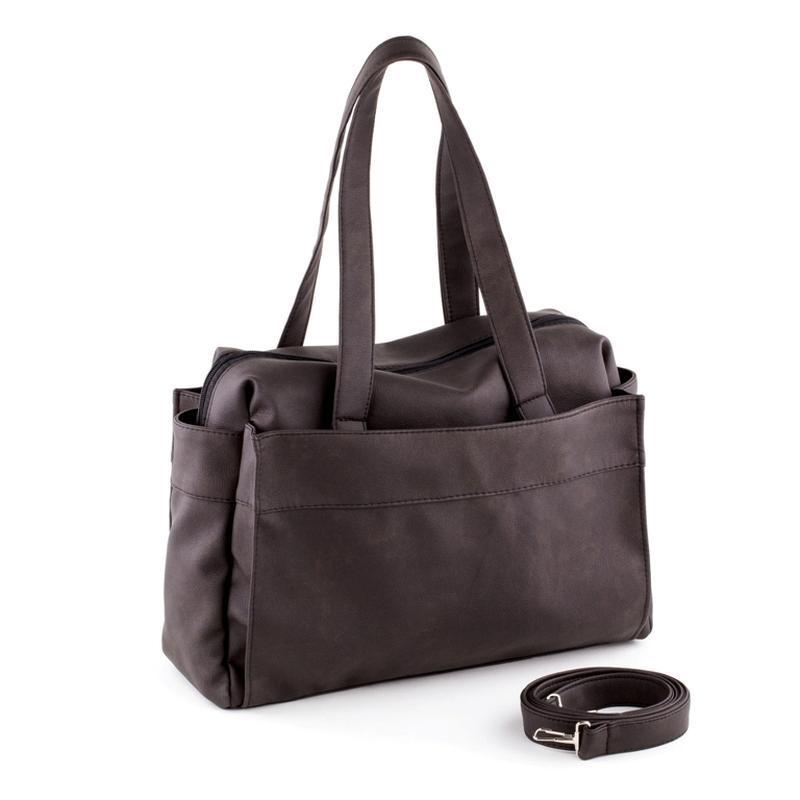 Большая вместительная сумка, спортивная, темно коричневый кожзам.
