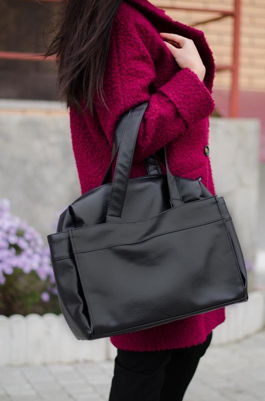 Большая вместительная сумка, спортивная, черный кожзам