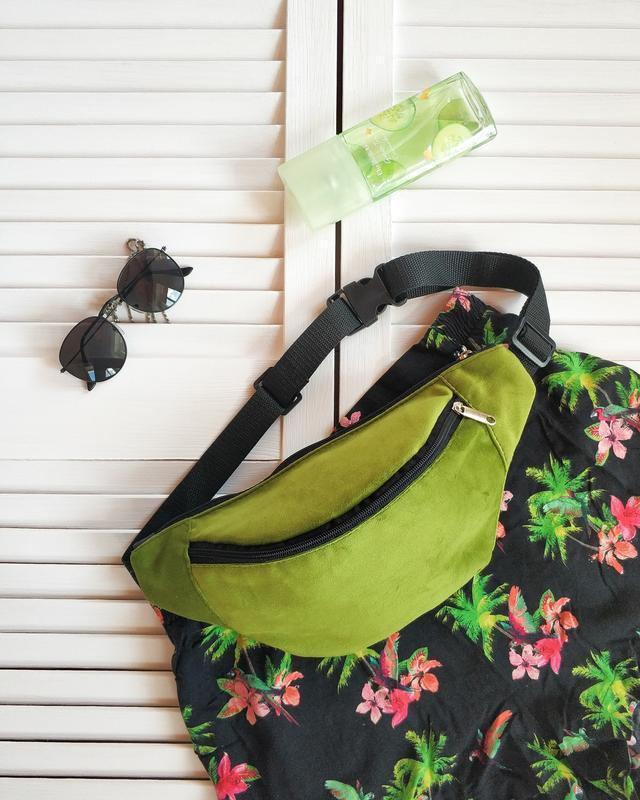 Бананка, сумка на пояс, зеленая, травяная, бархат, велюр
