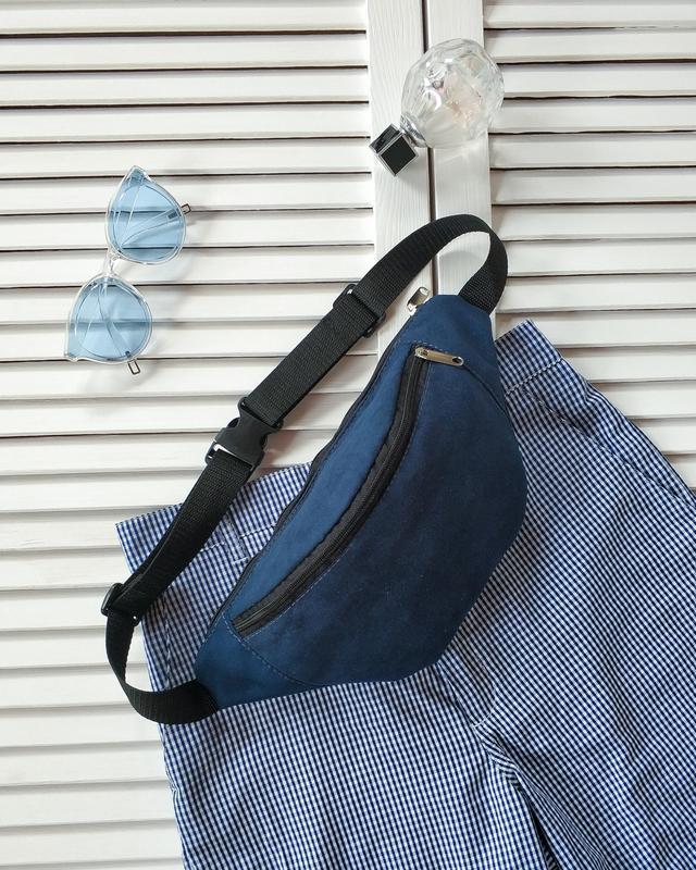 Бананка, сумка на пояс, темно синий текстиль, искусственный замш.