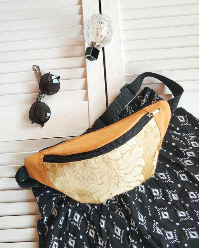 Бананка желтая, сумка на пояс, , с узорной вставкой, иск замш ...